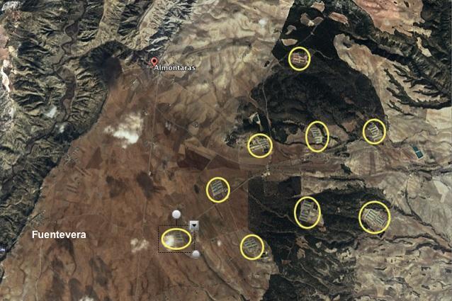 Explotaciones porcinas y avícolas en la zona donde se han analizado aguas de pozos y fuentes, cerca de Castril