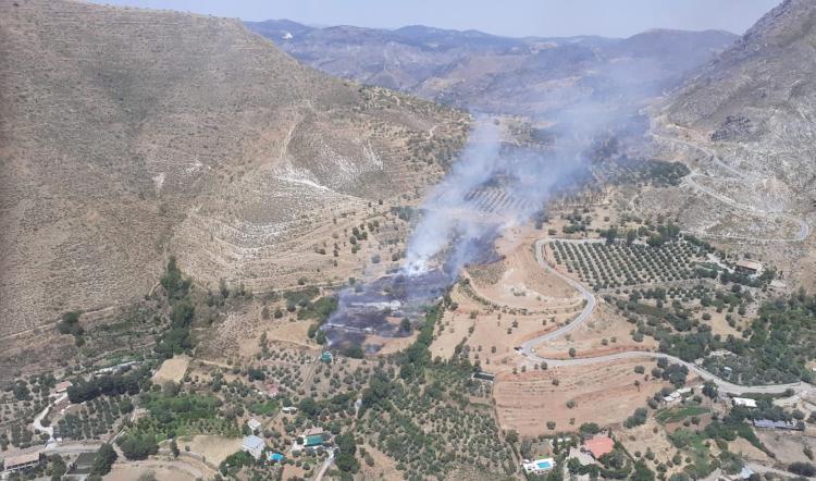 Imagen aérea de la zona del incendio.