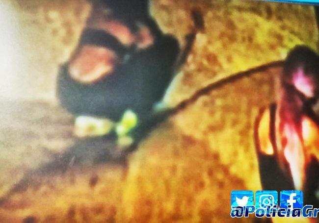Imagen extraída de la grabación de las cámaras correspondiente al momento en el que pintaba.