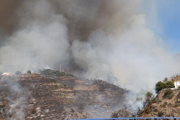 Imagen del fuego entre Ítrabo y Almuñécar.