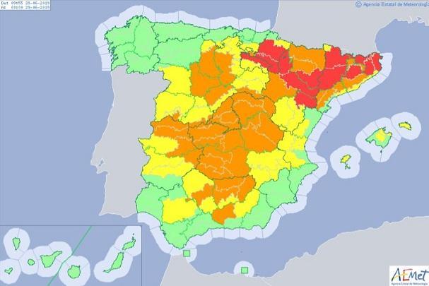 Avisos por altas temperaturas en España