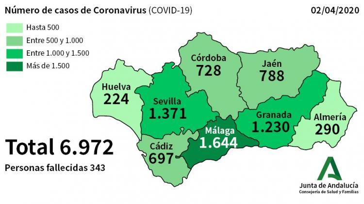 Mapa con la incidencia del Covid-19 a fecha 2 de abril.