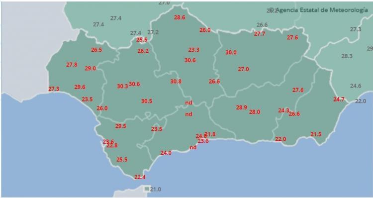 Mapa de temperaturas máximas en Andalucía.