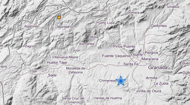 Mapa de localización de los seísmos, en La Malahá y Montefrío.