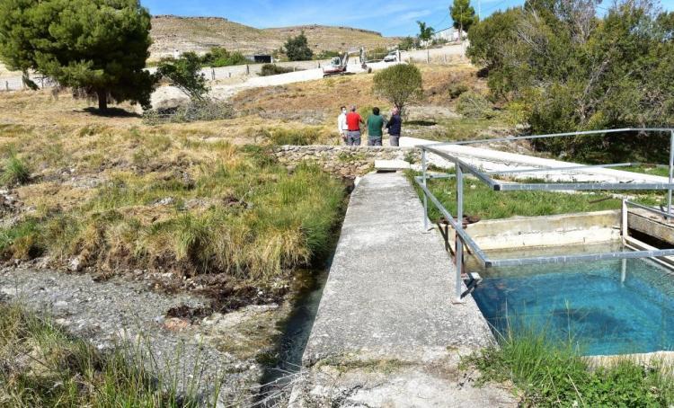 Paraje del nacimiento de Siete Fuentes, en Baza, un manantial con cada vez menos agua por el agotamiento del acuífero.