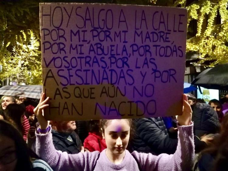 Una manifestante con una pancarta que resume la manifestación.
