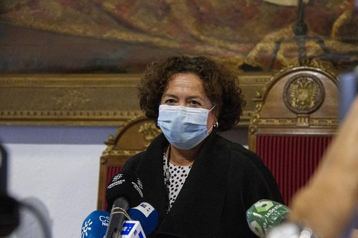 Pilar Aranda, rectora de la UGR, este martes.