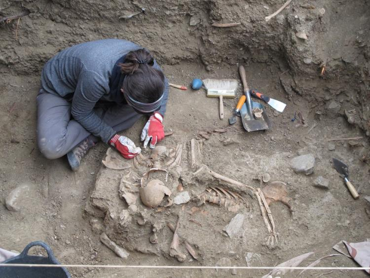 Los trabajos en la fosa de Pinos Genil han dejado al descubierto al menos dos cuerpos.