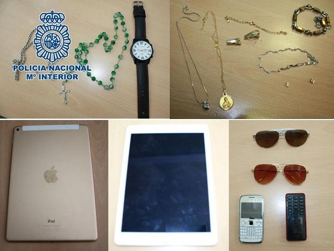 Algunos de los objetos robados recuperados.