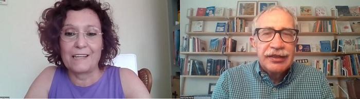 María Teresa Ruiz Cantero y Joan Carles March, durante la conversación.