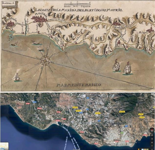 Comparación de lo que ha crecido el delta del Guadalfeo entre 1730 y la actualidad.