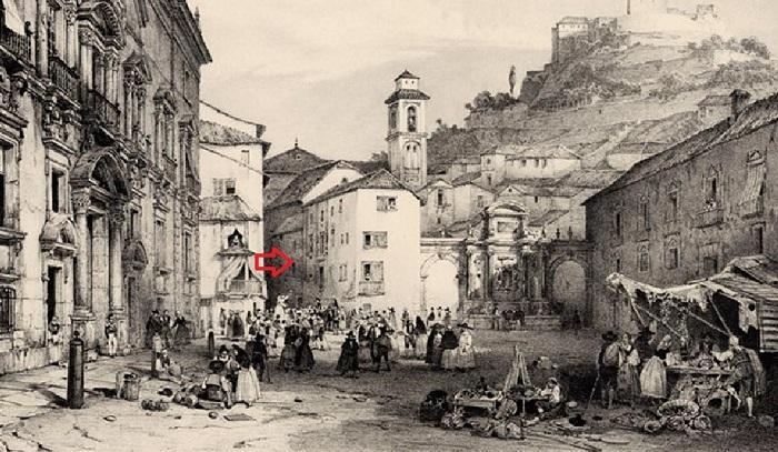 Pastelería Santa Ana (flecha roja) pegada a la fuente de las Ninfas. Se ve cómo la Carrera del Darro era muy estrecha a su comienzo.