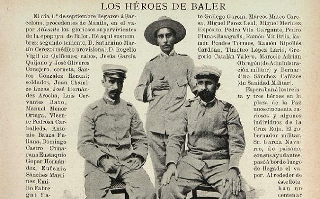 Por esta fotografía de la revista Iris (Barcelona, septiembre de 1899) España conoció a los oficiales de Baler: los tenientes Rogelio Vigil de Quiñones y Saturnino Martín Cerezo. En pie, el asistente de Cerezo. Fueron los únicos oficiales supervivientes.