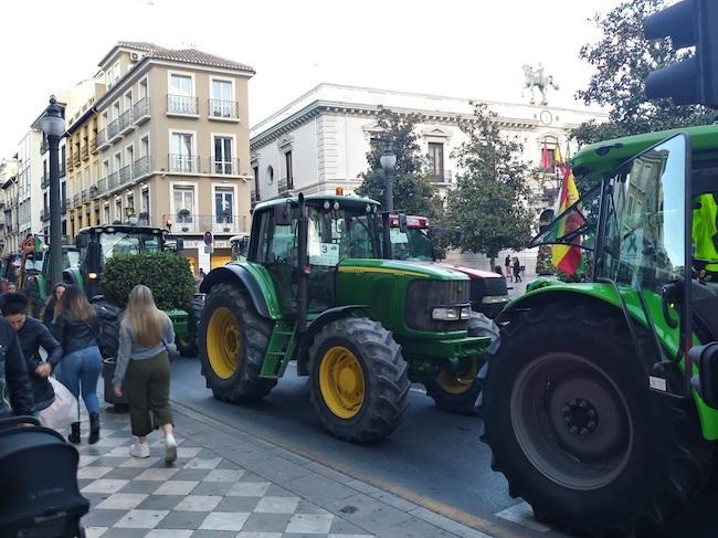 A media tarde había estacionados 111 tractores en el tramo de Reyes Católicos, con un peso medio de 6 toneladas por vehículo.