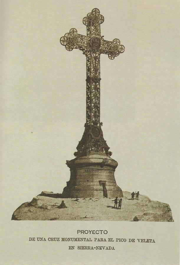 Lámina del proyecto de Cruz en el Veleta repartida por la revista La Alhambra el 15 de febrero de 1900.
