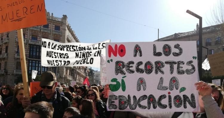 Protesta educativa del pasado enero en Granada.