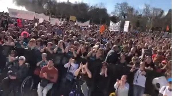 Protesta en Sevilla este domingo.