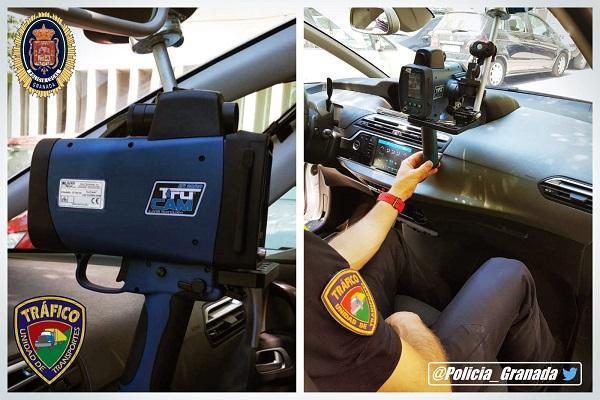 Los nuevos cinemómetros láser que utilizan los vehículos de la Policía Local granadina.