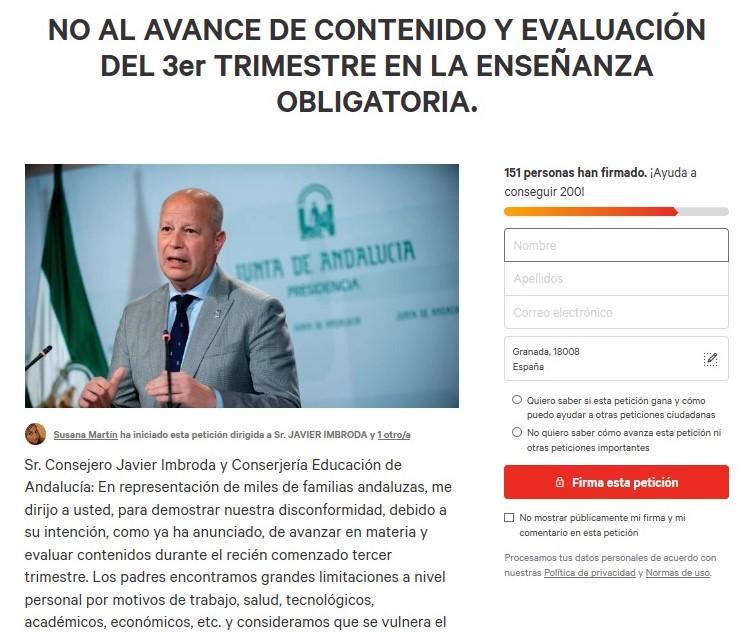 Captura de pantalla de la iniciativa.