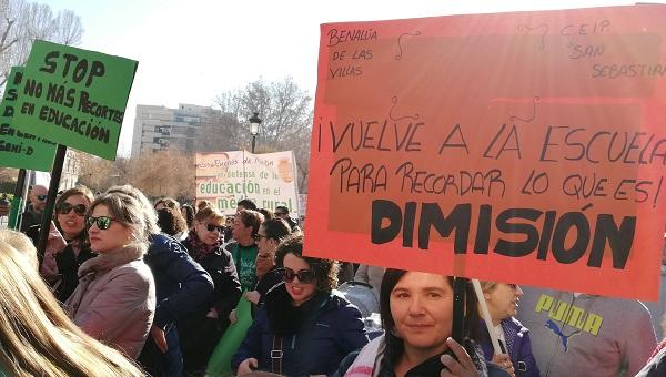 Detalle de la manifestación educativa del pasado enero.