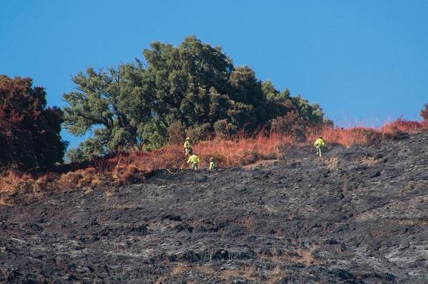 Imagen que muestra las consecuencias del incendio de Polopos, tomada cuando aún estaba activo.