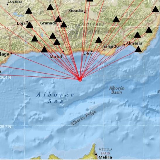 Imagen distribuida por el Instituto Andaluz de Geofísica.