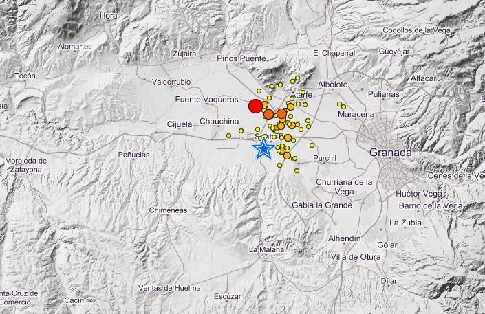 El mapa recoge los terremotos registrados en el área metropolitana en los últimos tres días.