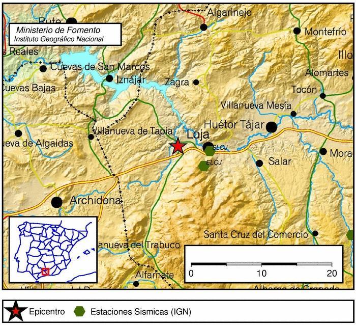 Mapa con la localización del seísmo.