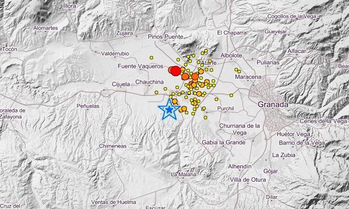 Captura de pantalla con los terremotos de los últimos días.