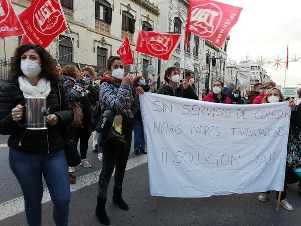 Imagen de la última movilización para reclamar una solución a los comedores escolares.