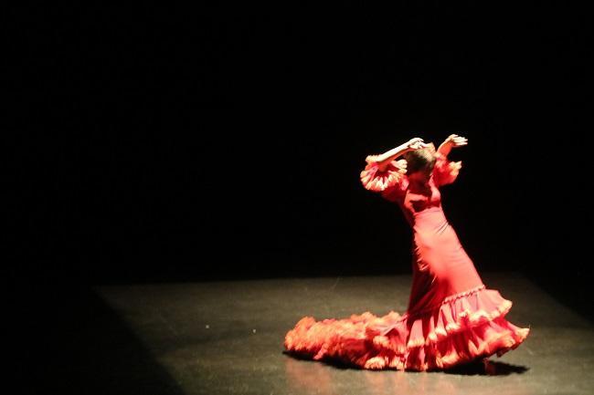 La bailaora sobre el escenario de la Casa de la Cultura.
