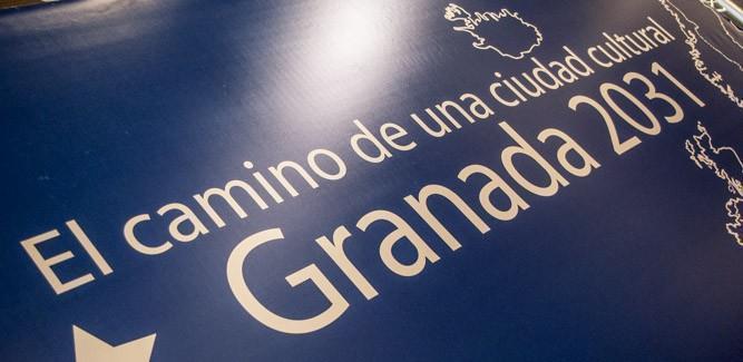 Logo y mensaje de la candidatura de Granada.