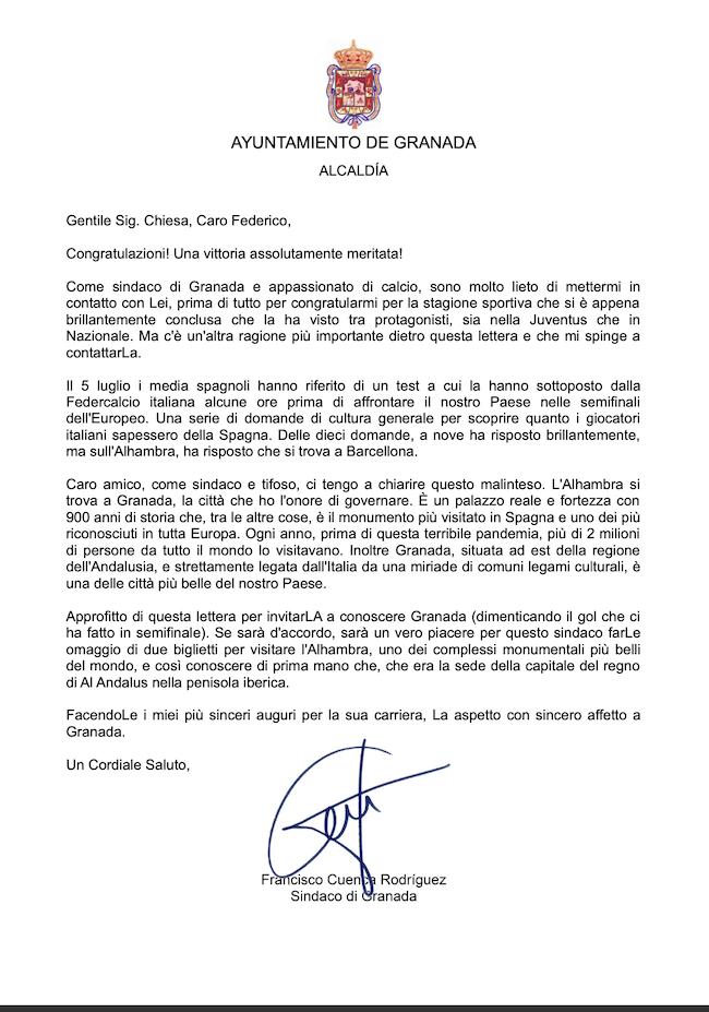 Carta del Cuenca a Chiesa.