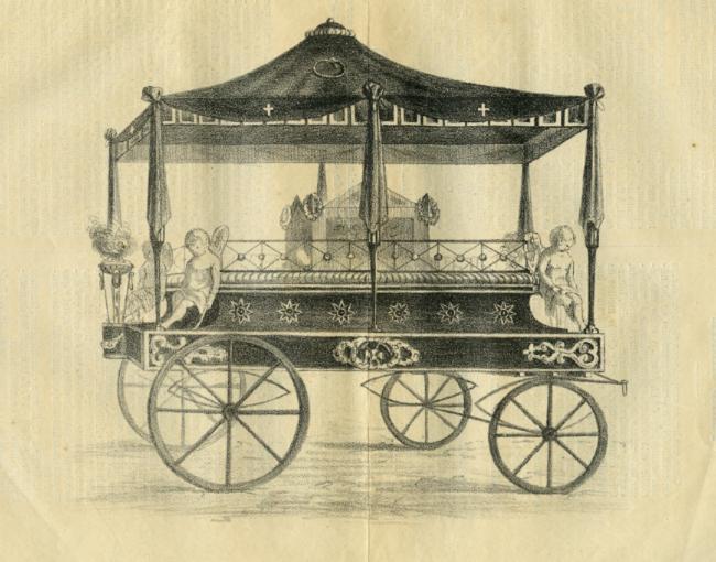 Carro fúnebre que se construyó para trasladar los restos de Mariana Pineda.