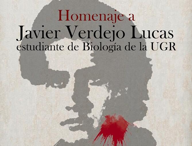 Cartel del homenaje a Javier Verdejo en la Facultad de Ciencias.
