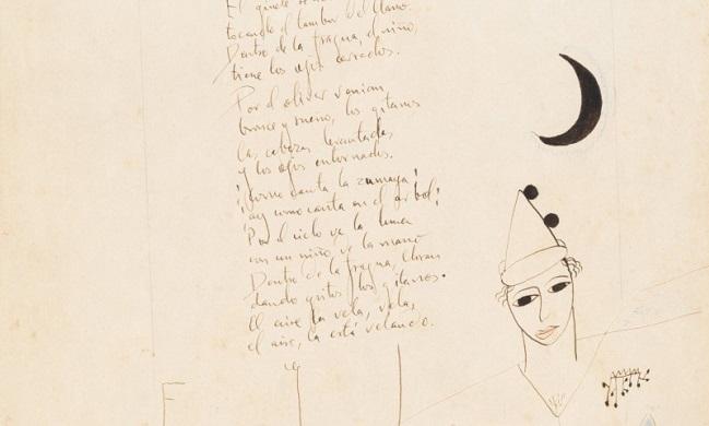 Detalle del manuscrito de Lorca subastado en París.