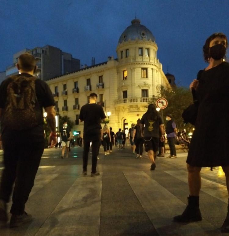 Manifestantes cerca de Puerta Real.