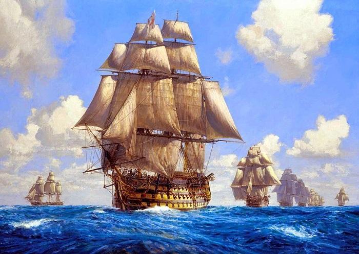 La nave capitana Santísima Trinidad, en cabeza de un convoy de la carrera de Indias. En el momento de su hundimiento  en Trafalgar (1805) portaba velamen y jarcia originarios de Granada.