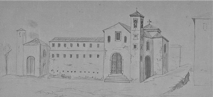 Dibujo de lo que debió ser convento -iglesia de la Merced a principios del siglo XIX, según recordaban los miembros de la Comisión Provincial de Monumentos (1902).  A la izda., San Ildefonso.