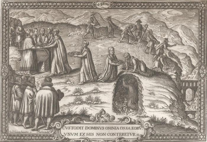 Grabado de Heylan que representa la búsqueda de Libros Plúmbeos en 1595. A la derecha dibujó el acueducto construido por Diego de Siloé para llevar el agua de la fuente de Valparaíso al Albayzín.