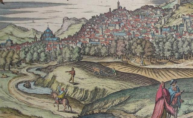 Granada hacia 1570, donde se ve una yunta arando al lado del Genil y un hombre sembrando. Media fanega de su grano iba a parar a Compostela.