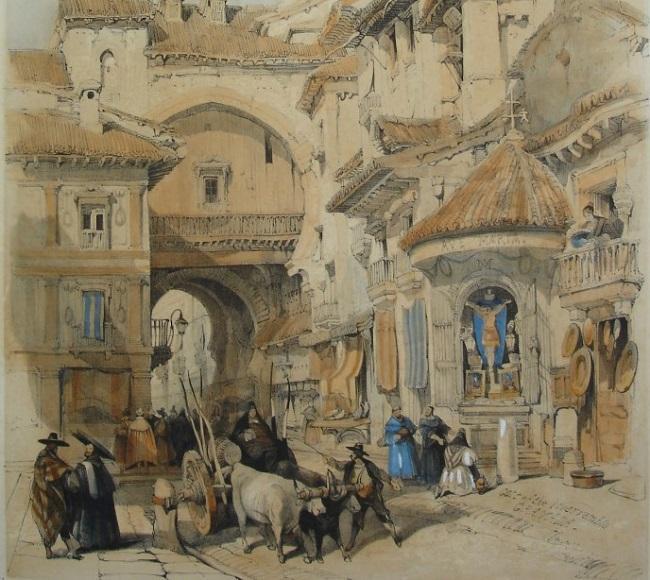 Puerta de Bibarrambla, por David Roberts (1835).