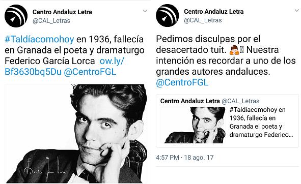 Captura de pantalla de los tuits del Centro Andaluz de las Letras.