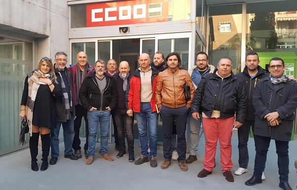Miembros de Herederos de Gómez, en la sede sindical.