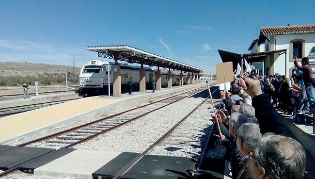 Concentración en la estación de Moreda en marzo de este año.