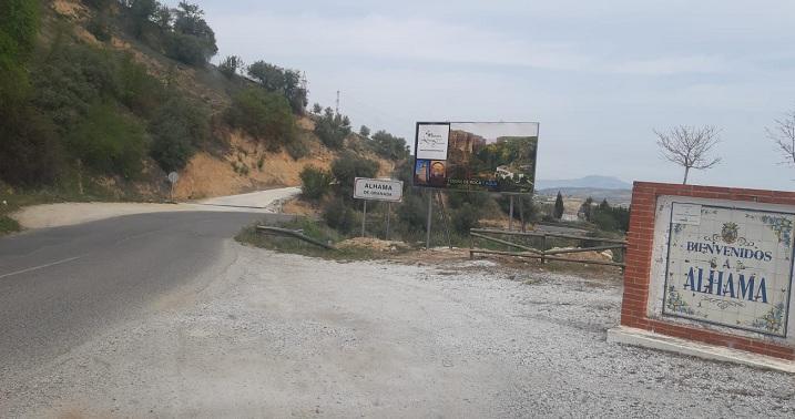 Cartel de entrada a Alhama de Granada.