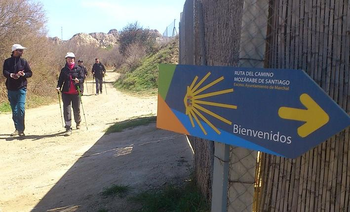 Señal indicativa del Camino Mozárabe de Santiago en el recorrido entre Purullena y Marchal.