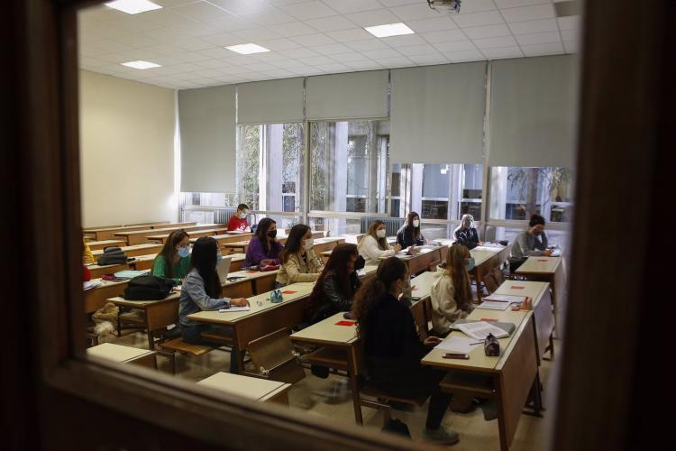 Aula universitaria, el pasado curso, antes de la suspensión de las clases presenciales en la UGR.