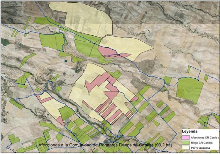 El área amarilla indica la superficie ocupada por la planta solar, la rosa las afecciones a la Comunidad de Regantes de Caniles y la verde, al riego de la comunidad.