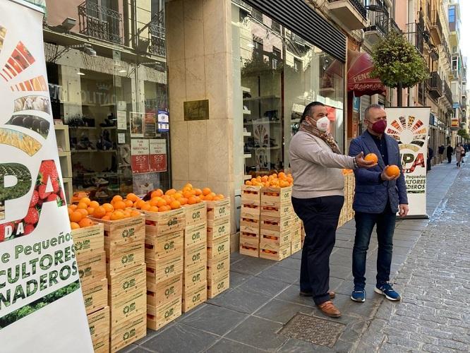 Reparto de naranjas en una calle comercial del centro.